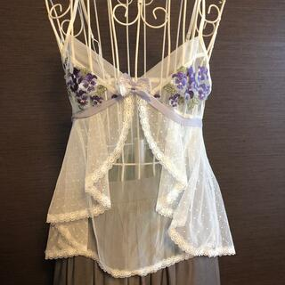 Wacoal - Wacoal ワコール キャミソール スリップ 白 花柄 パンジー 紫 レース