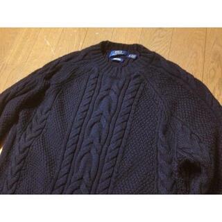 POLO RALPH LAUREN - ◆POLO ラルフローレン メリノウール ケーブル編み ロングセーター 紺◆