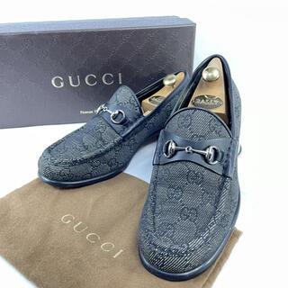 グッチ(Gucci)の【超美品】グッチ ホースビット GG柄 キャンパス ローファー 35ハーフC(ローファー/革靴)