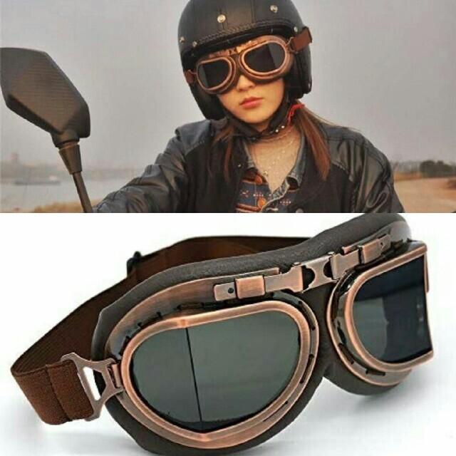 【バイク用】ヴィンテージゴーグル レトロ カフェレーサー コスプレ ハーレー 自動車/バイクのバイク(装備/装具)の商品写真