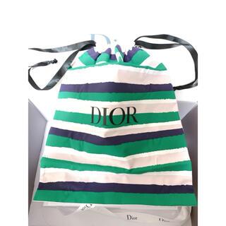 ディオール(Dior)のディオール ノベルティ 巾着 ポーチ グリーン ライトピンク(ポーチ)