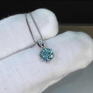 ~【1カラット 】グリーンブルー モアサナイト ネックレス K18WG(ネックレス)