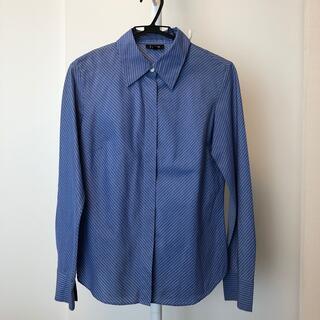 アイシービー(ICB)の【カフス付き】ICB  ストライプのシャツ ブルー 青 綿100%  9号 M(シャツ/ブラウス(長袖/七分))