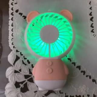 レインボー LED照明  ミニ ハンディファン