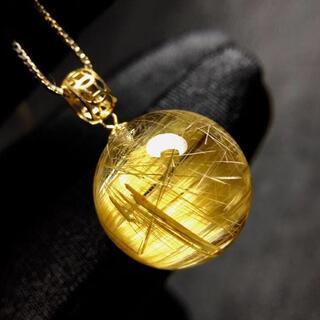 ⭐︎【天然】タイチンルチルクオーツ  ネックレス 15.5mm(ネックレス)