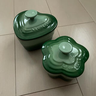 LE CREUSET - ル・クルーゼ Le Creuset 食器 容器 ペア ハート お花 緑 グリーン