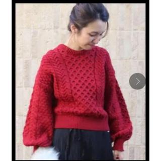 FRAMeWORK - 春ニット セーター 赤 パフスリープ リブ袖 綿 コットン