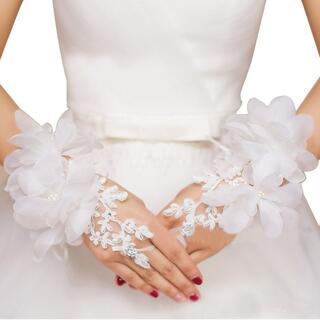 レース 手袋 ウェディング フラワー フィンガーレス グローブ 結婚式 ◎(その他ドレス)