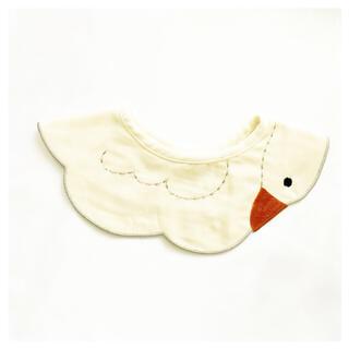 ベビー スタイ✩.*˚スワン 360° つけ襟 ♡ 刺繍 白鳥 生成り