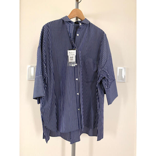 SCOT CLUB - Aga ストライプ ビック シャツ ブルー ゆったり 日本製