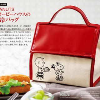 SNOOPY - PEANUTS スヌーピーハウスの保冷バッグ ♡ インレッド 付録 雑誌