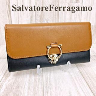 Salvatore Ferragamo - フェラガモ 三つ折り長財布 ガンチーニ ブラック ブラウン ゴールド