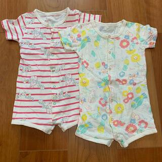 ナルミヤ インターナショナル(NARUMIYA INTERNATIONAL)の2枚セット BABY CHEER 半袖ロンパース 女の子 80(ロンパース)