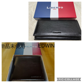 エドウィン(EDWIN)の【新品・未使用】EDWIN LiBERTO 紳士 折財布 牛皮 レザー(長財布)
