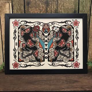 和柄 タトゥー デザイン 和 黒豹 天狗面 狐面 桜の花柄 ダルマ B5サイズ(アート/写真)