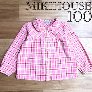 ミキハウス(mikihouse)の【良品】MIKIHOUSE ミキハウス チェック ブラウス お花 刺繍 100(ブラウス)