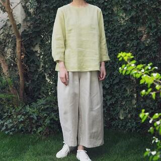 MUJI (無印良品) - 〓新品〓 無印良品フレンチリネンワイドパンツ/L/ペールブラウン