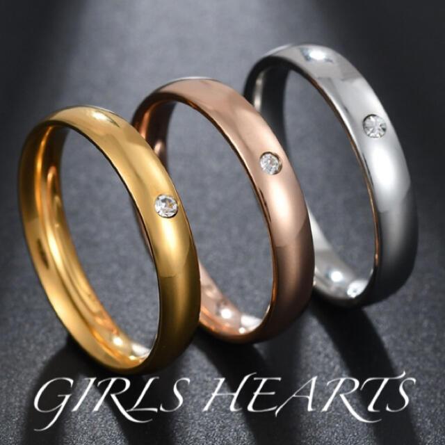 送料無料21号クロムシルバーワンポイントスーパーCZダイヤステンレスリング指輪 メンズのアクセサリー(リング(指輪))の商品写真