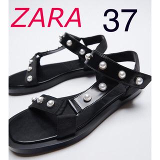 ザラ(ZARA)の新品 ZARA  パールビーズ付きフラットサンダル 37 ブラック(サンダル)