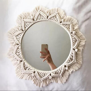 ACTUS - 新品★ウォールミラー★タペストリー化粧鏡★壁掛けミラー★ホワイト★