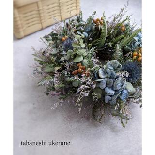 摘みたてユーカリと淡い秋色紫陽花を添え束ねた シックな リース ドライフラワー(ドライフラワー)