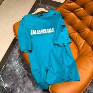 Balenciaga - バレンシアガCAPS DESTROYEDフラットグラウンドロゴTシャツ