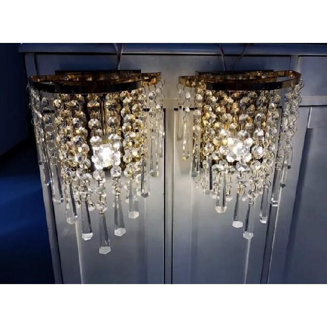 2個セット クリスタルガラスのゴージャスシャンデリア インテリア/住まい/日用品のライト/照明/LED(天井照明)の商品写真