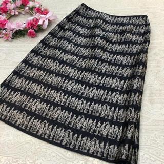 ジュンアシダ(jun ashida)のジュンアシダ ♡ シルク100% スカート ♡ ブラック ♡ 9(ひざ丈スカート)