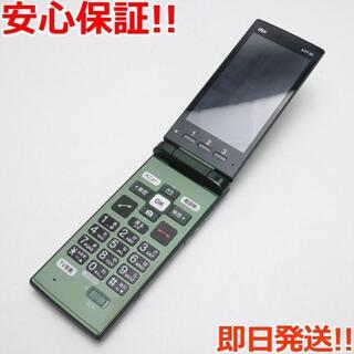 キョウセラ(京セラ)の 保証美品 au KYF36 かんたんケータイ グリーン 白ロム(携帯電話本体)