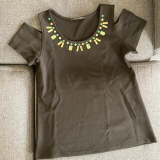 ワンウェイ(one*way)のone way トップス Tシャツ ブラック 肩開き(Tシャツ(半袖/袖なし))