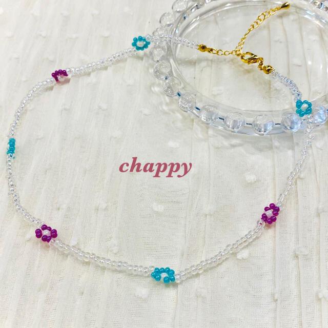 お花のビーズネックレス ハンドメイドのアクセサリー(ネックレス)の商品写真