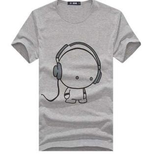 ヘッドフォンデザイン♪ 半袖 Tシャツ  L 灰 メンズ レディース