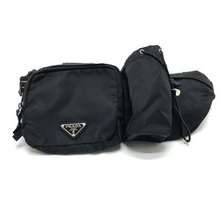 プラダ(PRADA)のPRADA プラダ VA0056 ロゴプレート ボディバッグ ウエストバッグ 黒(ウエストポーチ)