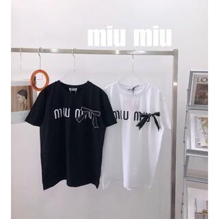 miumiu - ミュウミュウ miumiu  リボン半袖Tシャツ 黒 SML選択可能