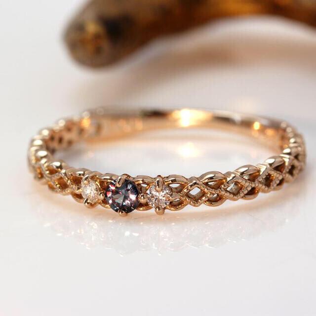 agete(アガット)のベキリーブルーガーネット×ダイヤモンドK18リング・ジョゼット レディースのアクセサリー(リング(指輪))の商品写真