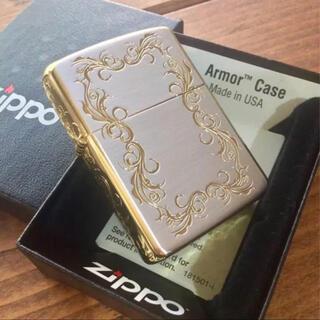 ジッポー(ZIPPO)の新品 Zippo アーマー 5面 アラベスク SG シルバー&ゴールド(タバコグッズ)