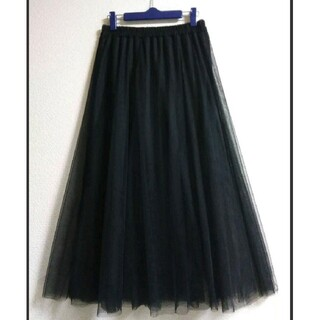 【新品】チュールスカート 着丈85cm ブラック ゆったり