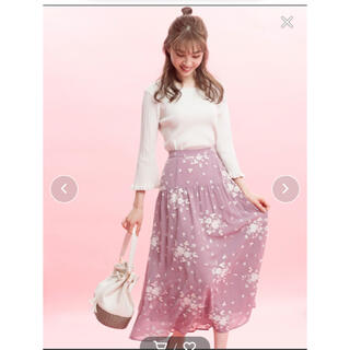 ウィルセレクション(WILLSELECTION)の可愛いウィルセレクション フリンジ刺繍切替スカート(ロングスカート)