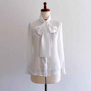 NARACAMICIE - ナラカミーチェ リボンタイブラウス ホワイトシャツ 0