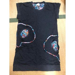 ツモリチサト(TSUMORI CHISATO)のツモリチサト ワンピース 黒 花柄(ひざ丈ワンピース)