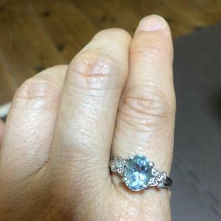 PT900アクアマリン指輪