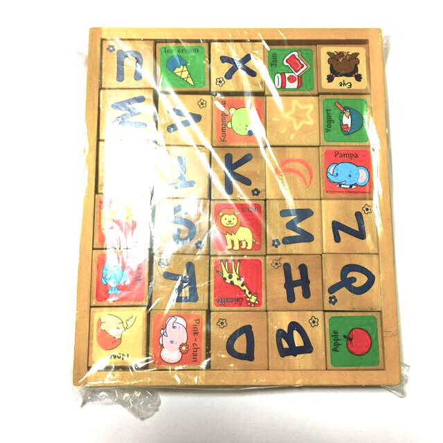 木製 積み木 アルファベット 絵 知育 キッズ/ベビー/マタニティのおもちゃ(知育玩具)の商品写真