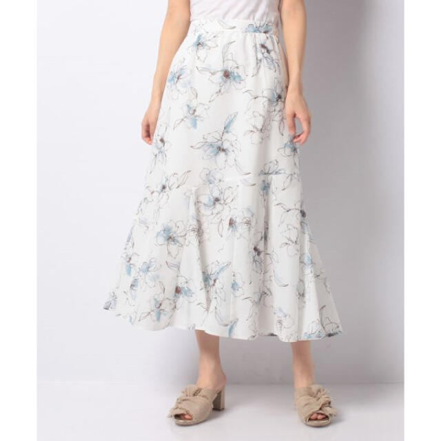 JUSGLITTY(ジャスグリッティー)の新品 JUSGLITTY 洗える エアリースカート ブルー オフィス 美人百花 レディースのスカート(ロングスカート)の商品写真