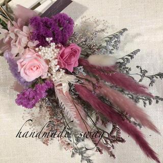 ♡Snoop様専用No.424 pink*white スワッグブーケ♡(ドライフラワー)