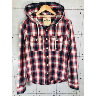 ホリスター(Hollister)のホリスター チェックシャツ パーカー ジャケット ワンポイント刺繍ロゴ メンズS(パーカー)