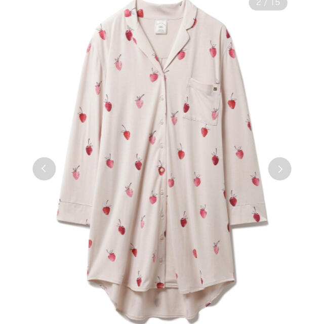 gelato pique(ジェラートピケ)のジェラートピケ ストロベリーモチーフ シャツドレス ロングパンツ セット 新品 レディースのルームウェア/パジャマ(ルームウェア)の商品写真