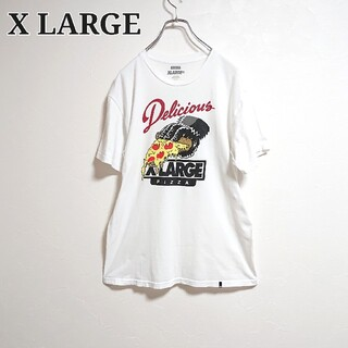 XLARGE - xlarge×delicious pizzaエクストララージ プリントtシャツ白