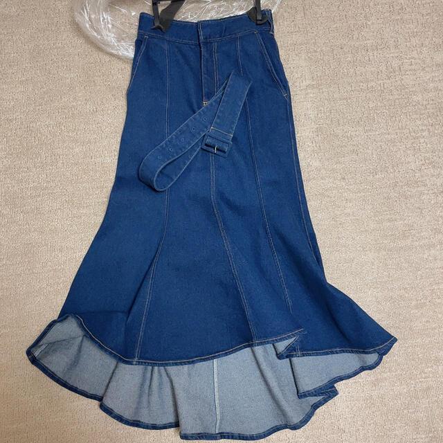 eimy istoire(エイミーイストワール)のベルト付きデニムマーメイドスカート レディースのスカート(ロングスカート)の商品写真