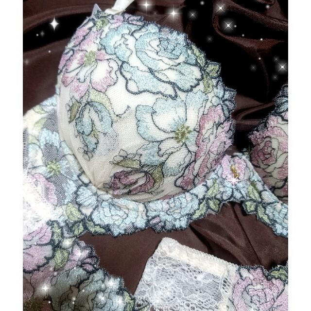ラメ入りローズ★ブラショーツセット3点セットTバック★C75ピーチジョン系 レディースの下着/アンダーウェア(ブラ&ショーツセット)の商品写真