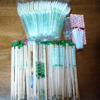 プラスチックスプーン 割り箸 セット(スプーン/フォーク)